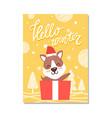 hello winter cute puppy on vector image