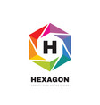 hexagon colorful logo template design h letter vector image