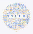 islamic concept in circle with thin line icons vector image vector image