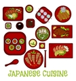 Japanese seafood dinner with dessert sketch icon vector image vector image