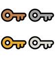 keys icons bronze silver gold platinum set vector image vector image