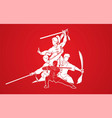 kung fu fighter with weapons martial arts action vector image