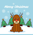 merry christmas cute reindeer sitting trees vector image vector image