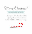 merry christmas greetings and candy cane vector image