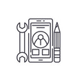 mobile development line icon concept mobile vector image vector image
