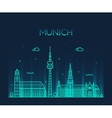 Munich skyline linear style vector image vector image