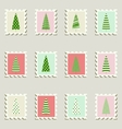 Postage stamps trees vector image