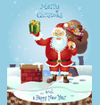 santa on the roof with a bag of gifts christmas vector image vector image