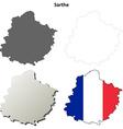 Sarthe Pays de la Loire outline map set vector image vector image