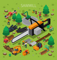sawmill timber mill lumberjack isometric vector image vector image