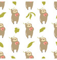 seamless pattern with cute sloths hanging on a vector image vector image