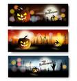 set halloween spooky banners vector image