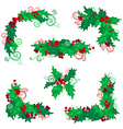 Set of Christmas holly berries design elements vector image vector image