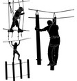 set of silhouettes in a rope park vector image vector image
