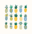 set of stylized pineapples of various texture vector image vector image
