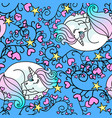 sleeping little unicorn seamless pattern blue vector image vector image