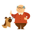 smiling grandpa giving a command to bark for his vector image vector image