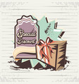 special discount label with gift retro style vector image