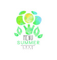 summer menu logo design element for healthy food vector image vector image