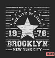 t-shirt print design brooklyn star vintage stamp vector image vector image