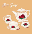 Tea Time with rose vector image