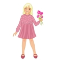 Teenager girl with blond hair and flowers in hand vector image vector image