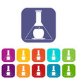 test flask with apple icons set flat vector image vector image