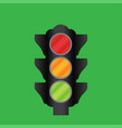 traffic light on a green background vector image vector image