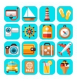 Travel tourism and vacation flat icons vector image vector image