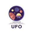 ufo logo original design badge with planets and vector image