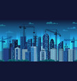 urban development night construction cranes vector image