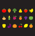 vegetable fruit berry icon set pear strawberry vector image vector image