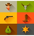 Wild west cowboy objects and design elements vector image vector image