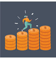 woman run up coins on stack coins on dark vector image vector image
