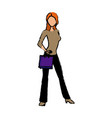 young woman standing character holding paper bag vector image vector image