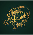 patrick day vintage golden lettering background vector image