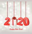 2020 new years background with gift box vector image