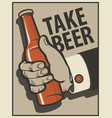 beer banner with a mans hand with a bottle vector image vector image