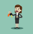 car sale businesswoman or manager is holding a vector image vector image
