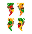 cartoon colored chili peppers characters icons set vector image
