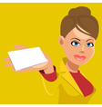 cartoon girl holding an empty nameplate vector image