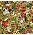 Cartoon hand-drawn doodles of italian cuisine vector image vector image