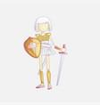 cartoon warrior girl with vector image vector image