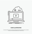 cloud game online streaming video icon line gray vector image