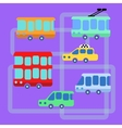 Collection urban public transport bus taxi trolley vector image