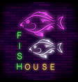 colorful neon fish house sign vector image vector image