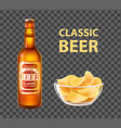 craft beer in bottle and chips in bowl isolated vector image
