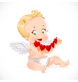 Cute little cupid sitting on the floor and holding vector image vector image