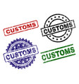 damaged textured customs stamp seals vector image