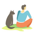 dog pet sitting with owner full in thoughts vector image vector image